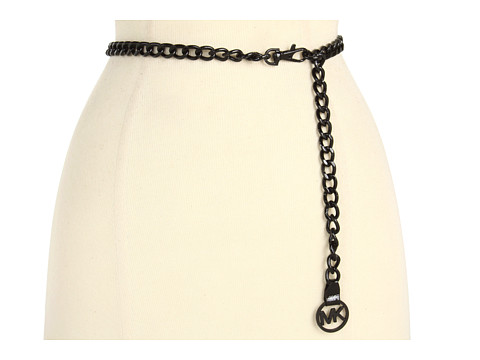Curele Michael Kors - Michael Kors Chain Belt w/ MK Charm - Black