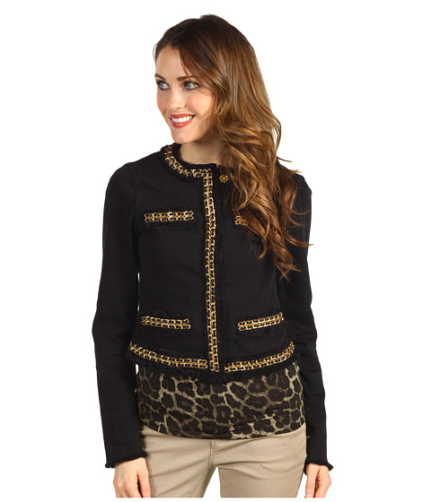 Jachete Michael Kors - Denim Fray Jacket w/ Chain - Black/Gold