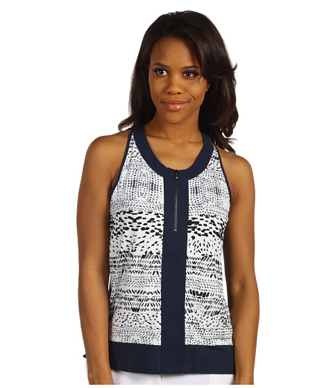 Bluze Kenneth Cole - Front Zip Printed Tank - Platinum Combo