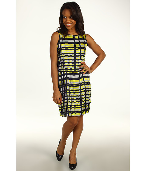 Rochii Kenneth Cole - Abstract Grid Printed Double Layer Dress - Citron Combo