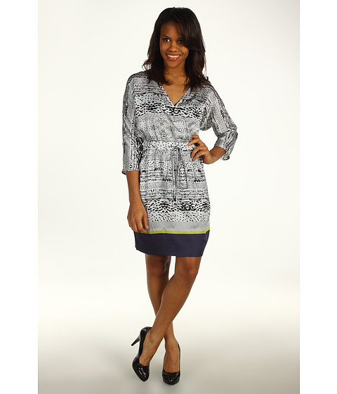 Rochii Kenneth Cole - Printed V-Neck Dress - Platinum Combo