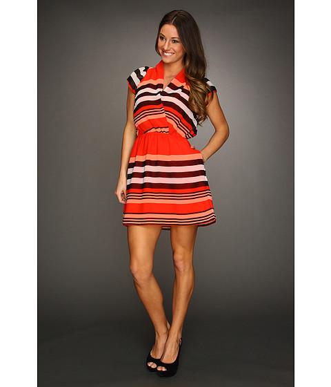 Rochii BCBGeneration - Striped Shirred Neck Dress - Bright Red Combo