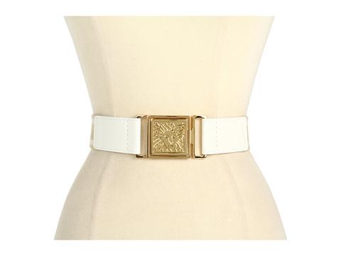 """Curele Anne Klein New York - 1 1/2\"""" Stretch Belt w/ Interlock Buckle - White"""