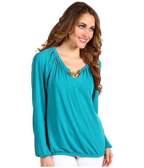 Bluze Michael Kors - Long Sleeve Blouson Peasant Top - Tile Blue