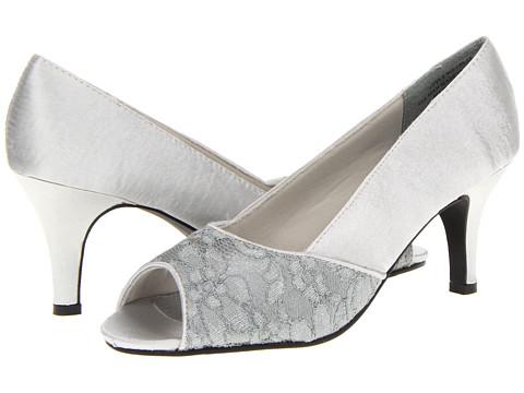 Pantofi Annie - Savory Heel - Silver Satin Lace