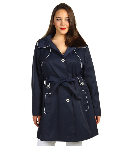 Jachete Jessica Simpson - Plus Size Hooded Trench w/ Contrast Piping - Navy/White