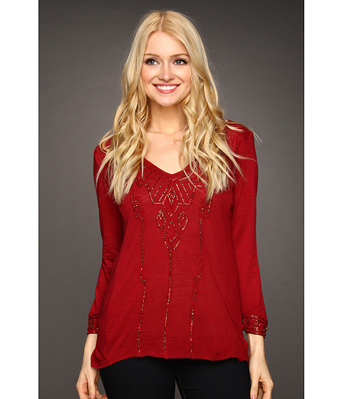 Bluze Lucky Brand - Flowy Beaded Top - Luxe Red