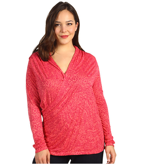 Bluze Lucky Brand - Plus Size Paisley Faux Wrap Top - Pink Multi