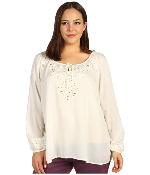 Bluze Lucky Brand - Plus Size Rhiannon Cut Out Peasant Top - Nigori