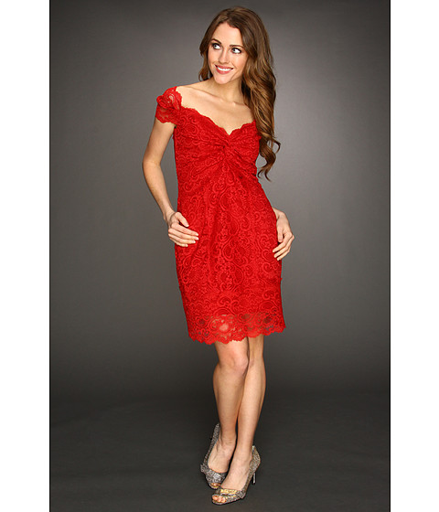 Rochii Nicole Miller - Off The Shoulder Stretch Lace Dress - Red