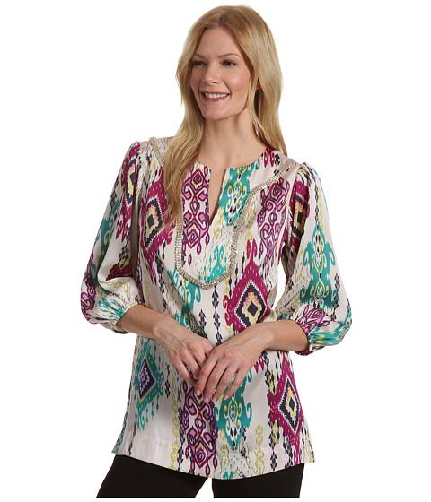 "Tricouri Jones New York - 3/4 Sleeve Embellished Tunic 29\"" - JIvory Combo"