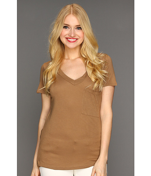 Bluze Culture Phit - Nilly V-Neck Pocket Tee - Toffee