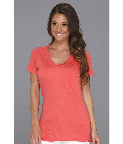 Bluze Culture Phit - Nilly V-Neck Pocket Tee - Coral
