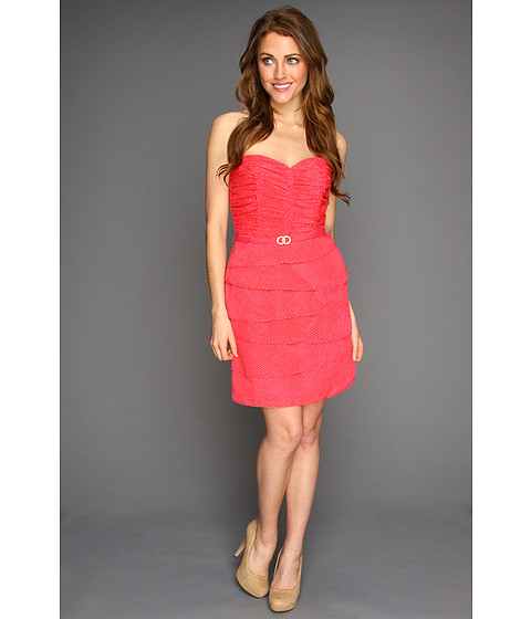 Rochii Laundry by Shelli Segal - Strapless Tiered Cocktail Dress - Geranium