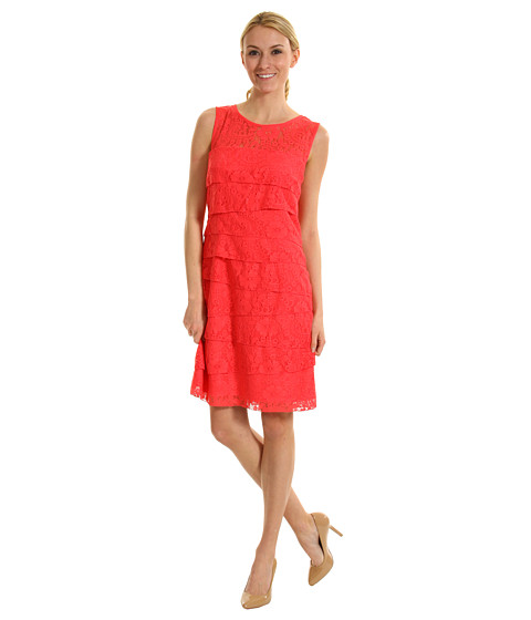 Rochii Jessica Howard - Sleeveless Shutter Pleat Dress - Coral