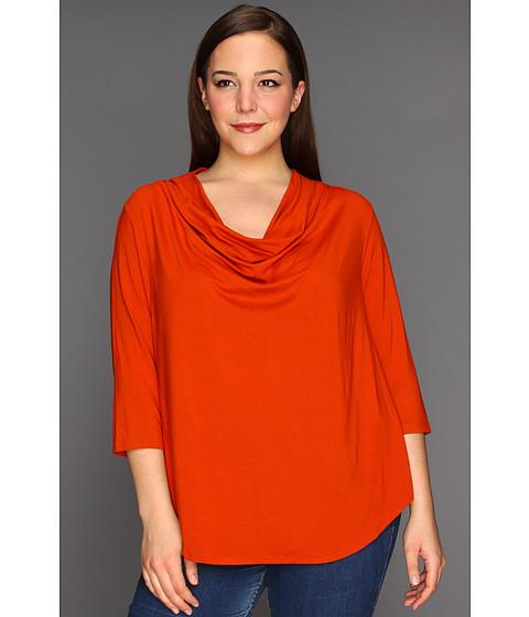 Bluze Karen Kane - Plus Size Three Quarter Sleeve Drape Neck Top - Dark Orange