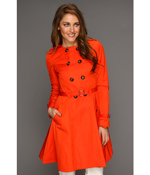 Jachete Cole Haan - City Nylon Doube Breasted Collarless Trench W/ Skirted Bottom - Orange