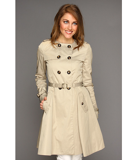 Jachete Cole Haan - City Nylon Doube Breasted Collarless Trench W/ Skirted Bottom - Sand