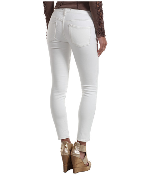 Blugi Free People - Herringbone Cropped Skinny Jean - White