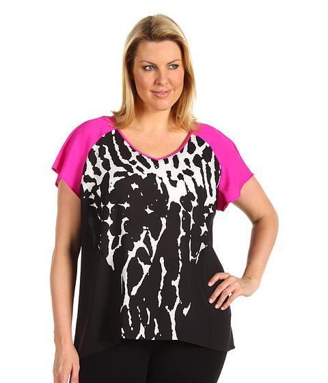 Tricouri Calvin Klein - Plus Size Printed Raglan Top - Winter White/Black