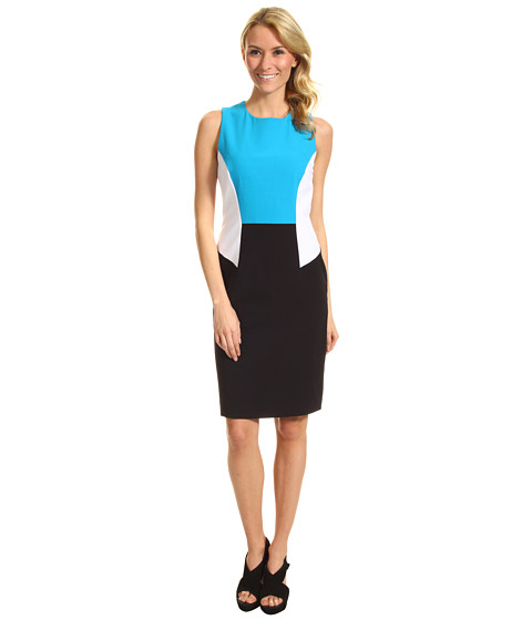 Rochii Calvin Klein - Colorblock Dress - White/Cerulean/Black