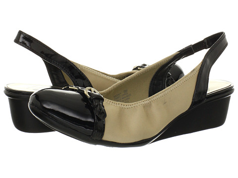 Pantofi Anne Klein New York - Davy - Beige Matte Stretch/Black Patent