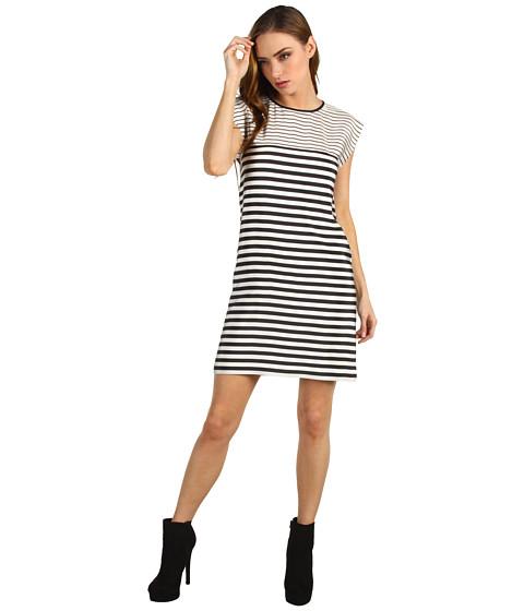 Rochii Tibi - Claire Stripe on Silk CDC Easy Dress - Black/Ivory Multi