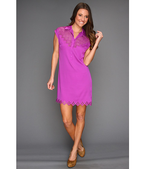 Rochii Catherine Malandrino - Short Sleeve Collared Shirt Dress with Embroidery - Mulberry