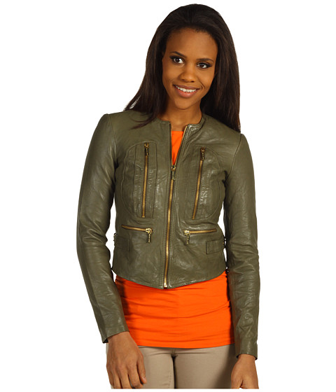 Jachete Michael Kors - Soft Leather Zip Jacket - Duffle