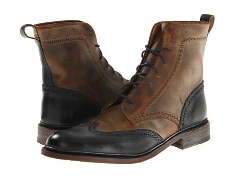 Ghete Frye - James Wingtip Boot - Black/Sunrise Antique Pull Up