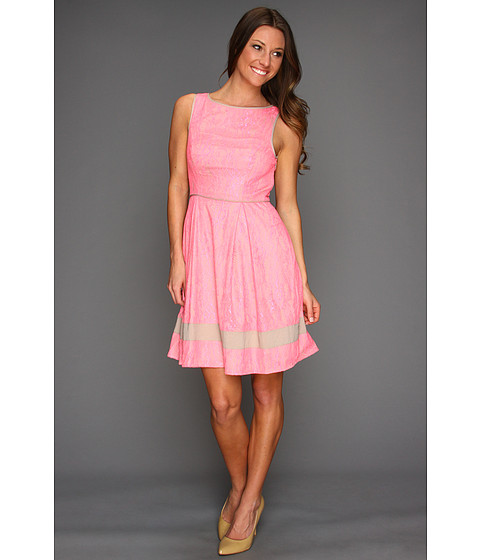 Rochii Jessica Simpson - Sleeveless Lace Contrast Trim Dress - Pink
