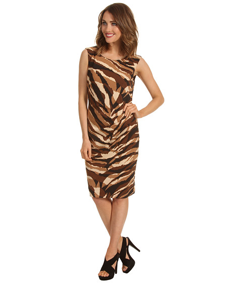 Rochii Anne Klein New York - Printed Ponte Sheath Dress - Camel Multi