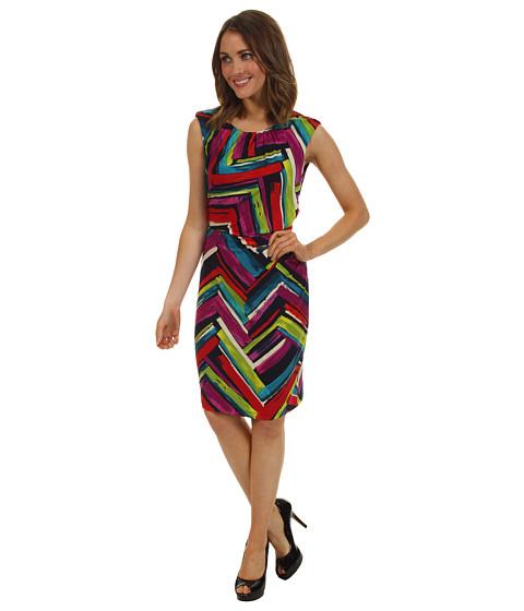 Rochii Ellen Tracy - Side Drape Jersey Print Dress - Navy/Multi