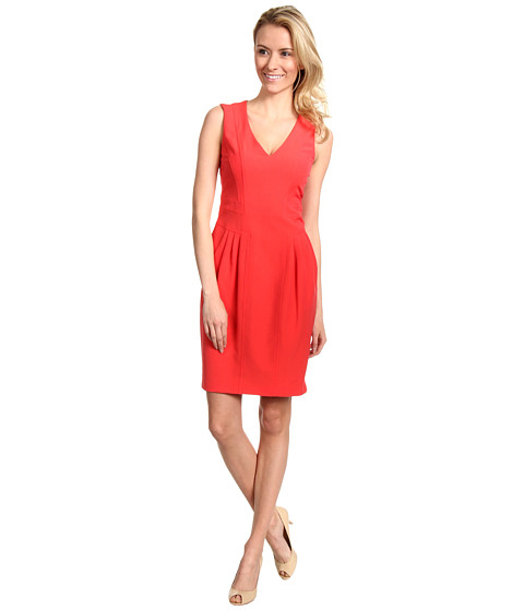 Rochii Vince Camuto - V-Neck Sleeveless Dress with Topstitching Detail - Coral