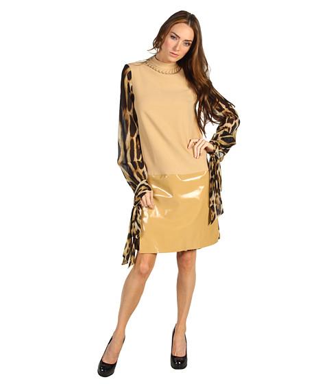 Rochii Just Cavalli - Mod Dress With Leopard Print Balloon Sleeve - Camel