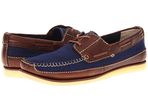 Pantofi Clarks - Craft Row - Navy Canvas/Brown Leather