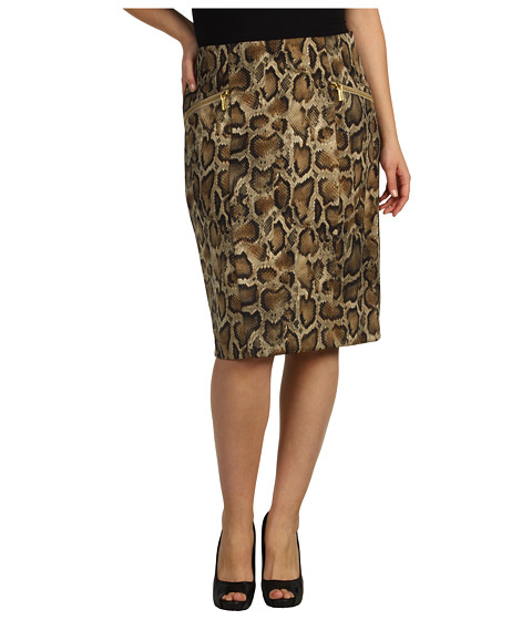 Fuste Michael Kors - Plus Size Mamba Snake Pencil Skirt - Khaki