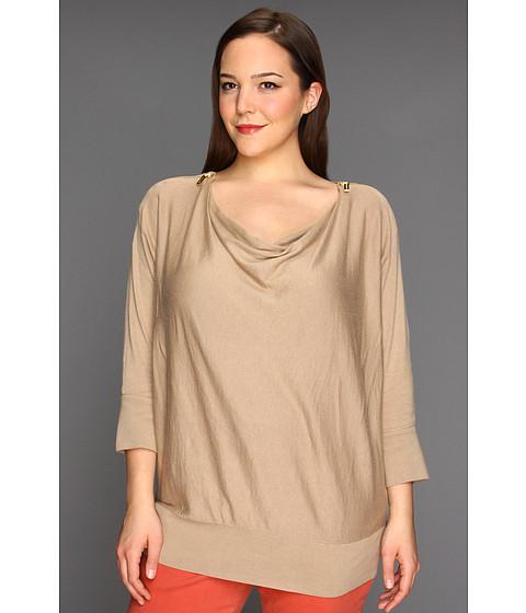 Bluze Michael Kors - Plus Size Cowl Neck Zip Shoulder Sweater - Khaki