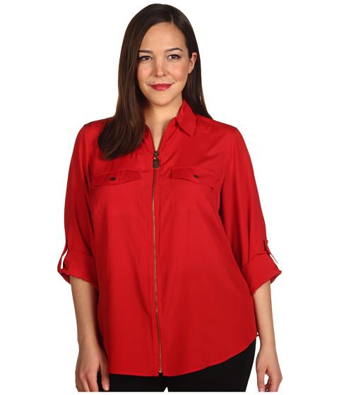 Bluze Michael Kors - Plus Size Dogtag Zip Camp Shirt - Red Blaze