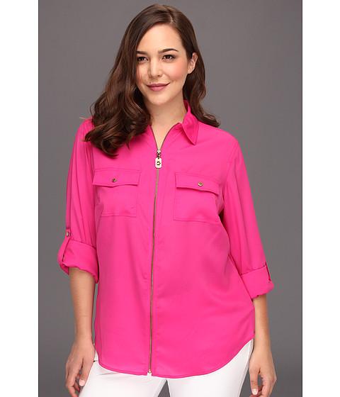 Bluze Michael Kors - Plus Size Dogtag Zip Camp Shirt - Radiant Pink1