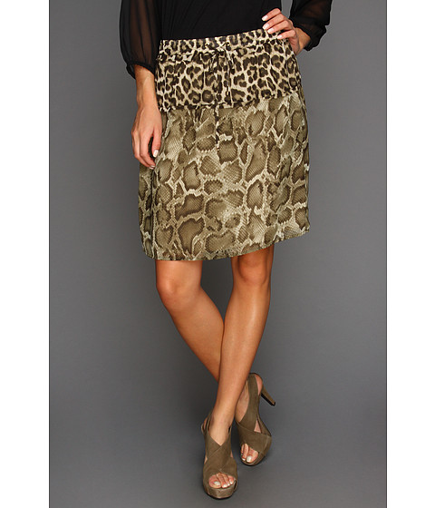 Fuste Michael Kors - Savannah Leopard Raw Edge Skirt - Milk
