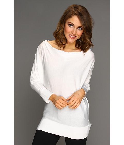 Bluze Michael Kors - Cowl Neck Zip Shoulder Sweater - White