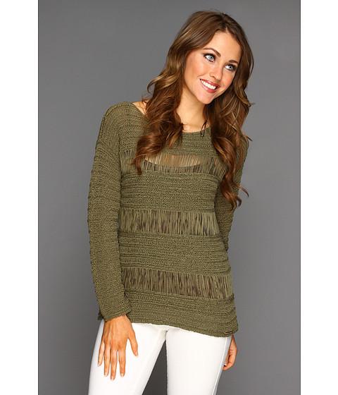 Bluze Michael Kors - Stripe Tape Yarn L/S Sweater - Safari Green