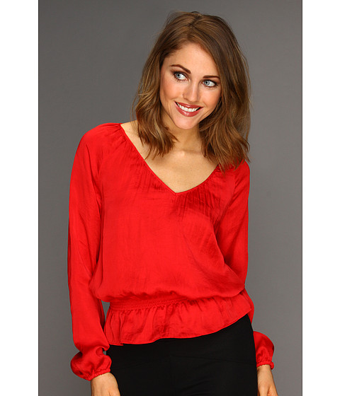 Bluze MICHAEL Michael Kors - Habutai L/S Cinch Waist Top - Red Blaze