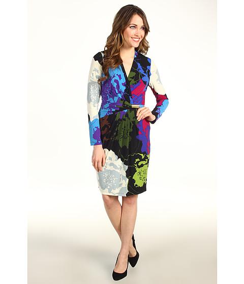 Rochii Ellen Tracy - Jersey Surplice Dress w/ Side Drape and Hardware - Black Multi