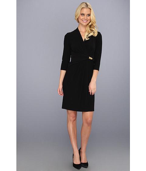 Rochii Ellen Tracy - Jersey Surplice Dress w/ Side Drape and Hardware - Black