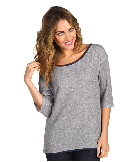 Bluze Lacoste - Lightweight Off Shoulder Sweatshirt - Iron Grey/Ship Blue