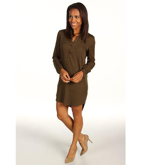 Rochii Lacoste - L/S Brushed Twill Shirt Dress - Dark Bonsai Green