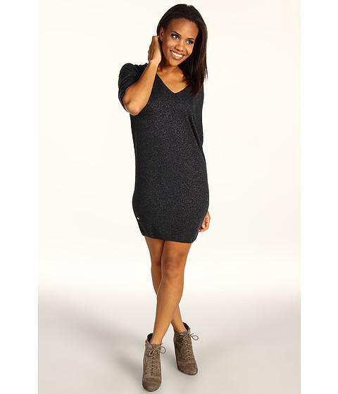 Rochii Lacoste - S/S Lurexî V-Neck Sweater Dress - Granite Grey/Lurex