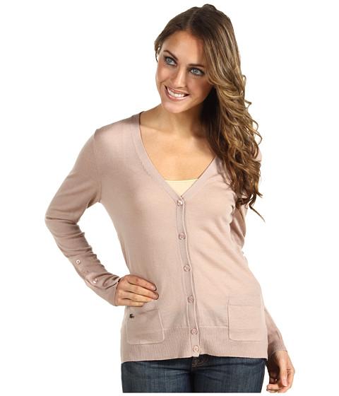 Bluze Lacoste - L/S Extra Fine Merino Wool Cardigan Sweater - Foundation Pink